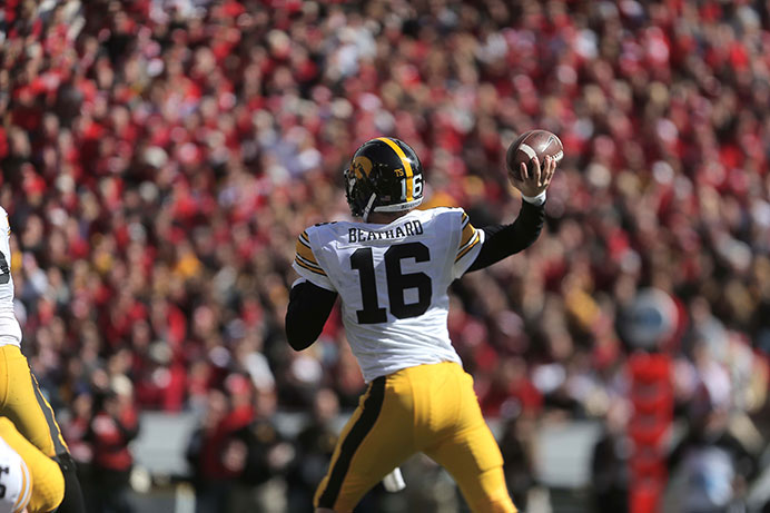 Iowa quarterback C.J. Beathrad attempts to throw the ball during the Iowa-Wisconsin game in Camp Randal Stadium on Saturday, Oct. 3, 2014. The Hawkeyes defeated the Badgers, 10-6. (The Daily Iowan/Margaret Kispert)