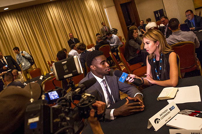 Iowa guard Anthony Clemmons talks with a reporter during Big Ten media day in Chicago on Thursday. Clemmons played 677 minutes last season and scored 163 points. (The Daily Iowan/Jordan Gale)