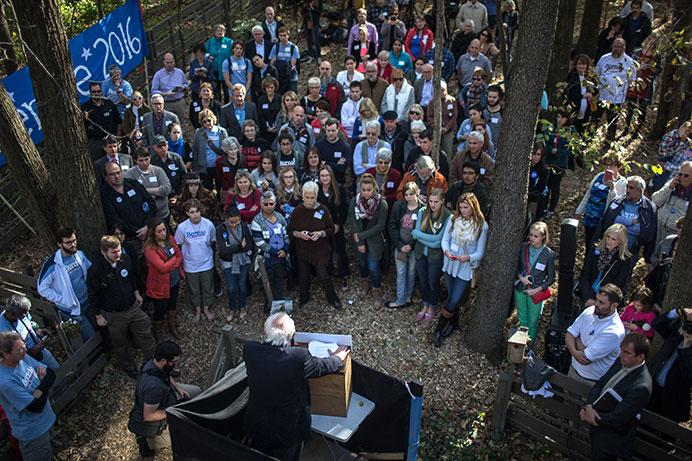 Vermont Senator Bernie Sanders addresses a crowd just outside the Krapf and Brau home on Sunday, Oct. 18, 2015. Sanders made three stops in Iowa to gain support for his campaign. (The Daily Iowan/Sergio Flores)