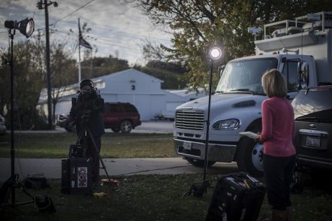 A national network news team sets up to cover a presidential stump speech in Iowa on Oct. 18, 2015.  State Republican insiders say there are four must-hit events that GOP presidential hopefuls should attend before the 2016 Iowa Caucus. (The Daily Iowan/Jordan Gale)