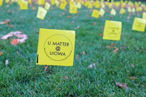 The Active Minds at University of Iowa Counseling Services hosts the Field of Memories in the Pentacrest on Wednesday, Oct. 28, 2015. Students are asked to sign each flag, which represent the number of students who kill themselves each year, with an encouraging message to show that they care.
