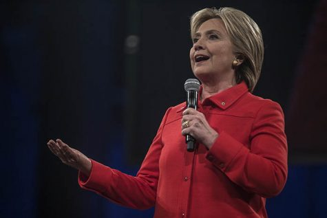 Former Secretary of State Hillary Clinton gives a speech during the Jefferson-Jackson Dinner on Saturday, Oct. 24, 2015. Each of the three Democratic presidential nominees held rallys before attending the Jefferson-Jackson Dinner. (The Daily Iowan/Sergio Flores)