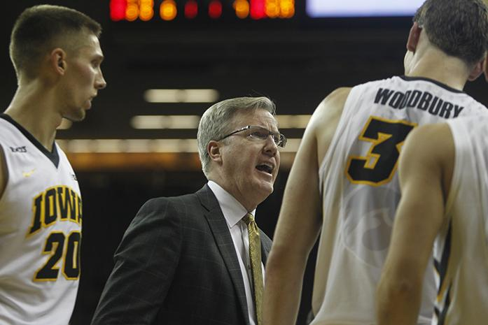 Iowa head coach Fran McCaffery yells at center Adam Woodbury during the game against Augustana in Carver-Hawkeye Arena on Friday, Nov. 6, 2015. The Vikings defeated the Hawkeyes, 76-74. (The Daily Iowan/Joshua Housing)