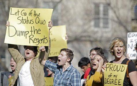 Protest targets regents' hiring