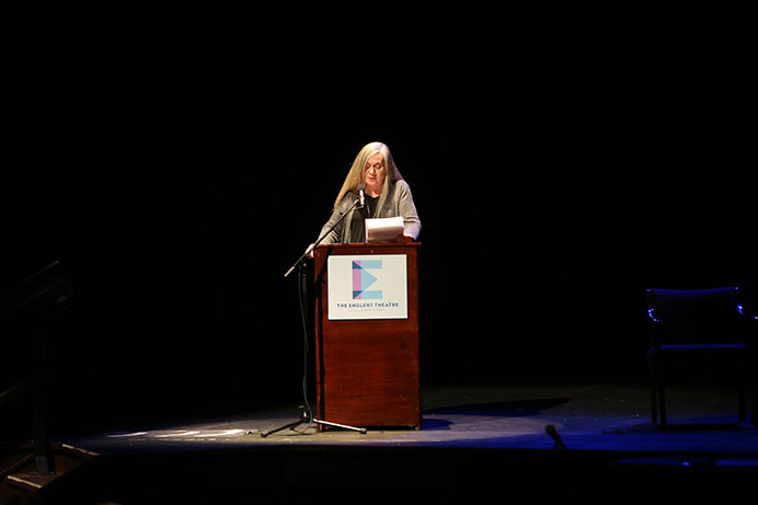 "Marilynne Robinson reads Ralph Waldo Emerson's essay, ""The American Scholar"" at the Englert Theater on Wednesday. (The Daily Iowan/Karley Finkel)"