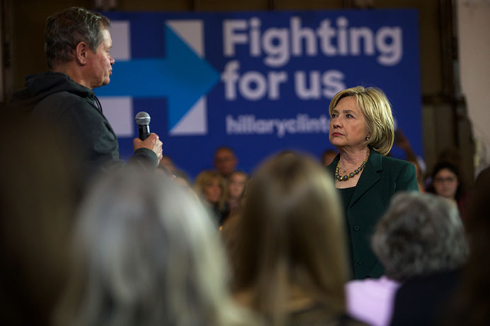 Democratic presidential candidate Hillary Clinton speaks to a crowd gathered in Old Brick Church in Iowa City on Wednesday, Dec. 16, 2015. Clinton's main discussion points included the importance of supporting survivors of sexual assault, putting a stop to islamophobic rhetoric and preventing the privatization of social security. (The Daily Iowan/Brooklynn Kascel)