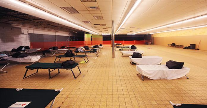 The temporary homeless shelter is seen on Tuesday, Jan. 27, 2015 in Iowa City, IA. The shelter opens in the evening and provides donated bedding and cots for those in need. (The Daily Iowan/Rachael Westergard)