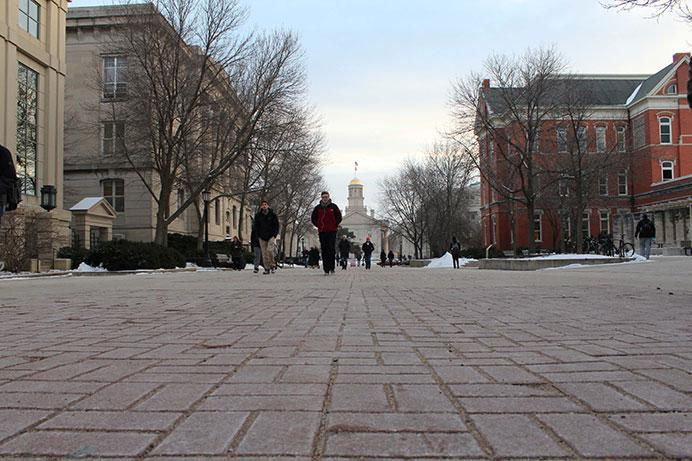 Students walk on the T. Anne Cleary walkway on Thursday, Jan. 21. Ridge and Furrow, better known as the brain rock is located on the T. Anne Cleary walkway. (The Daily Iowan/ Alex Kroeze)