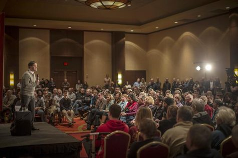 Senator Marco Rubio speaks to a crowd at the Coralville Marriott on Monday Jan 18, 2016. Senator Rubio covered topics in his speech such as repealing Obamacare. (The Daily Iowan/Jordan Gale)