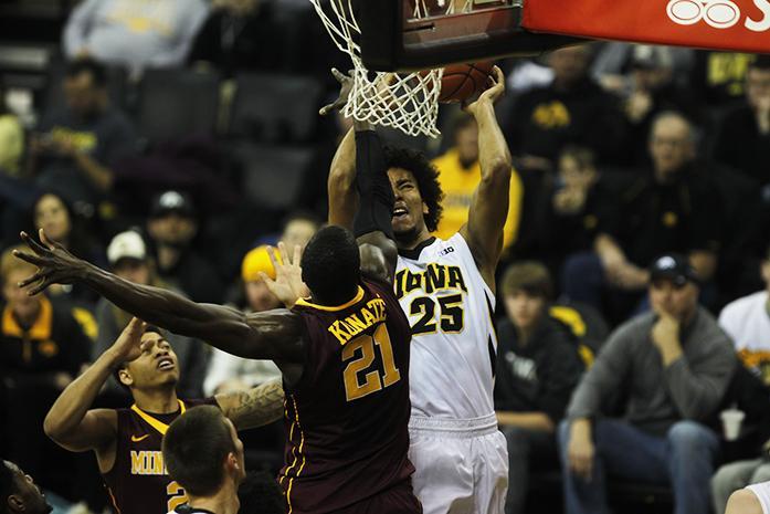 Iowa forward Dom Uhl lays the ball up against Minnesota on Sunday, Feb. 14, 2016 in Carver-Hawkeye in Iowa City, IA. The Hawkeyes defeated the Gophers, 75-71. (The Daily Iowan/Joshua Housing)