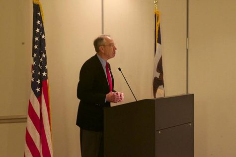 United States Senator for Iowa Chuck Grassley speaks at the University Club for the Republican Dinner on Thursday, February 18, 2016. Grassley has been serving since 1981, previously being in the United States House of Representatives. (The Daily Iowan/McCall Radavich)