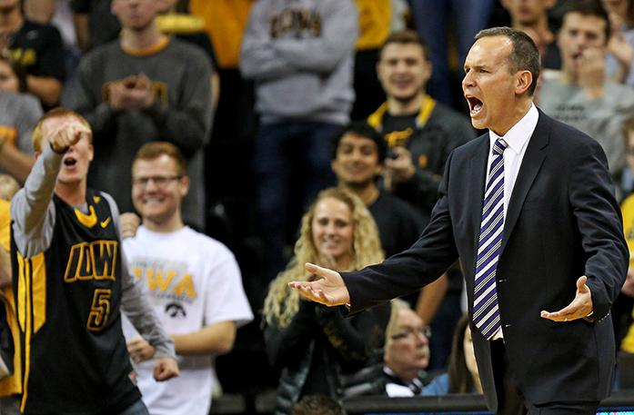 Northwestern head coach Chris Collins reacts after Northwestern guard Scottie Lindsey was called for a technical foul during the second half of an NCAA college basketball game against Iowa, Sunday, Jan. 31, 2016, in Iowa City, Iowa. Iowa won 85-71. (AP Photo/Justin Hayworth)