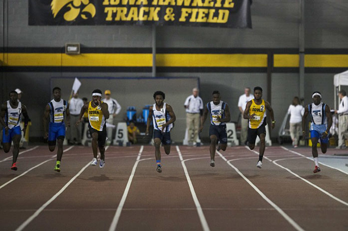 Competitors+race+towards+the+finish+line+in+the+Men%27s+60+Meter+Dash+during+the+Iowa+Dual+indoor+track+and+field+meet+on+Saturday%2C+Jan.+16%2C+2016.+Along+with+Iowa%2C+teams+from+Western+Illinois+and+Iowa+Central+Community+College+were+also+in+attendance.+%28The+Daily+Iowan%2FBrooklynn+Kascel%29