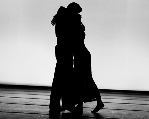 "Ashley Kostelnik and Benton Happel rehearse their performance for the dance ""Rhythm Unbound"" on Monday, March 28, 2016. Graduate student Tallis Strub choreographed the dance as her thesis. (The Daily Iowan/Tawny Schmit)"