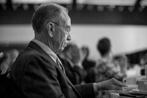 FILE - Sen. Chuck Grassley, R-Iowa, listens to a speech being delivered at the Lincoln Dinner in Des Moines on Saturday, May 16, 2015. (The Daily Iowan/file)