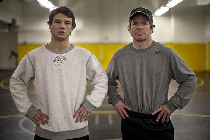 d243e5cd83 Iowa wrestler Thomas Gilman (left) and Iowa wrestling head coach Terry  Brands (right