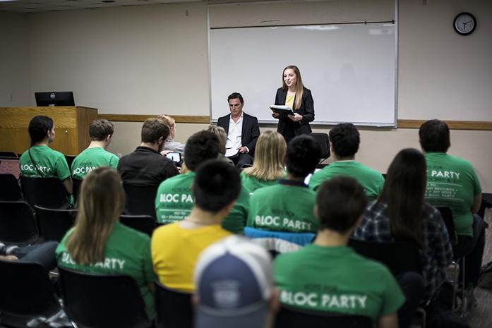 Vice presidential candidate Lauren Freeman from the BLOC Party talks at Iowa Memorial Union on Monday, Mar 28, 2016. Each candidates talked about sexual assault, freedom of speech, and working with University of Iowa president Bruce Herald. (The Daily Iowan/Peter Kim)
