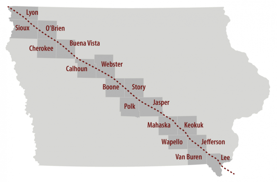 (A map of the proposed route for a new oil pipeline through Iowa, proposed by Dallas-based Energy Transfer Partners. (The Daily Iowan/Photo Illustration)