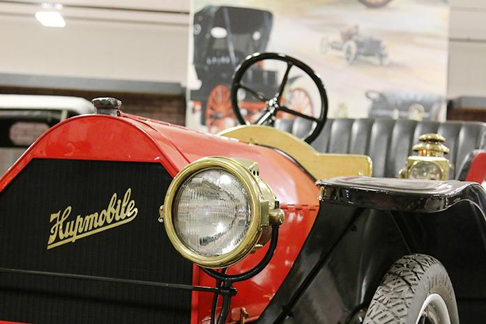 A 1910 Hupmobile is shown at the Antique Car Museum of Iowa on Tuesday, March 8, 2016. There is a bill being considered that would make front license plates on cars optional. (The Daily Iowan/Tawny Schmit)