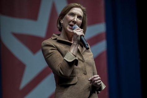 Carly Fiorina speaks tot he audience at Cedar Rapids, Iowa, on Saturday 5, 2015. Fiorina started her speech drawing quick distinctions between her and Democratic front-runner Hillary Clinton. (The Daily Iowan/Peter Kim)