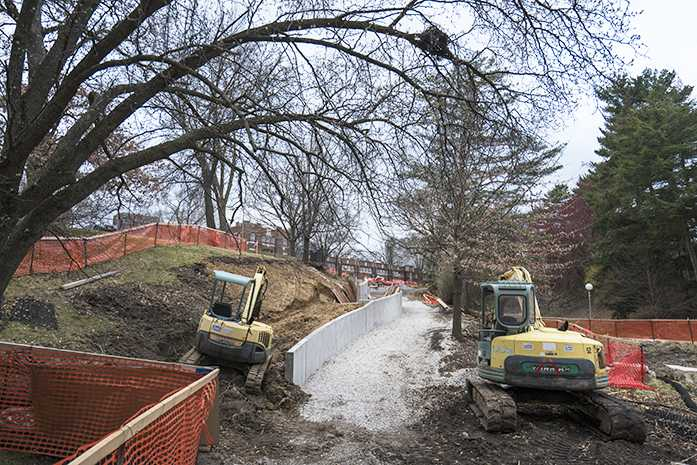 North entrance of Quad resident hall goes through construction on Thursday, March 31, 2016. (The Daily Iowan/Peter Kim)