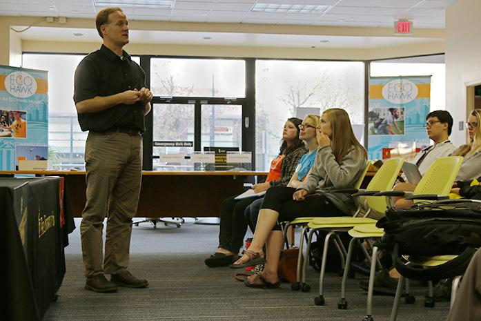 Professor Craig Just talks about the Iowa Watershed Approach at the Office of Sustainability on Wednesday, April 20, 2016. A meeting was held to talk about the effects of climate change in Iowa. (The Daily Iowan/Tawny Schmit)