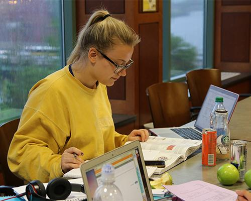 Freshman Carley Stepanek studies her notes in a Hillcrest lounge on a rainy Monday. Stepanek was studying for her biology final with a group of her friends.