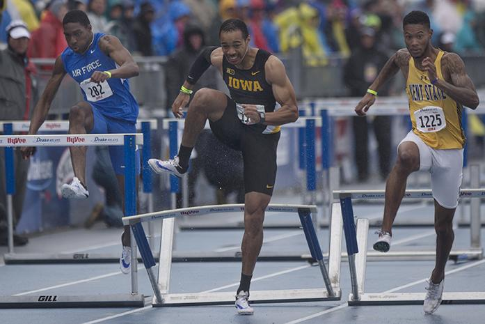 Iowa's Aaron Mallett makes it over the final hurdle in the 110 meter hurdles during the 2016 Drake Relays on Saturday, April 30, 2016. Mallett finsihed in third place with a time of 13.58. (The Daily Iowan/Brooklynn Kascel)