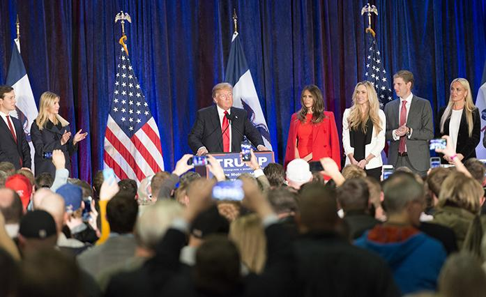 Presidential candidate Donald Trump, holds a caucus event at the Sheraton Hotel in Des Moines, Iowa on Monday Feb. 1, 2016. Trump later lost the Iowa Caucus with 24 percent of the vote, while his opposition Ted Cruz won Iowa with 28 percent of the votes (The Daily Iowan/Glenn Sonnie Wooden).