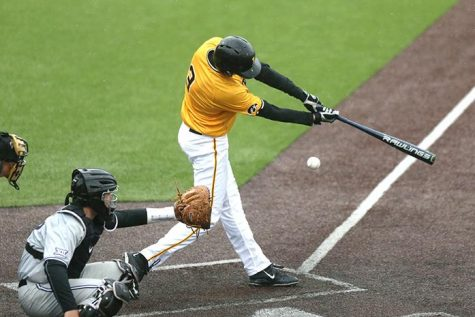 Iowa short-stop Nick Roscetti swings the bat during game three of the Iowa-Kansas State series at Duane Banks field on Sunday, May 1, 2016. The Wildcats defeated the Hawkeyes, 4-2 taking the series. (The Daily Iowan/Margaret Kispert)