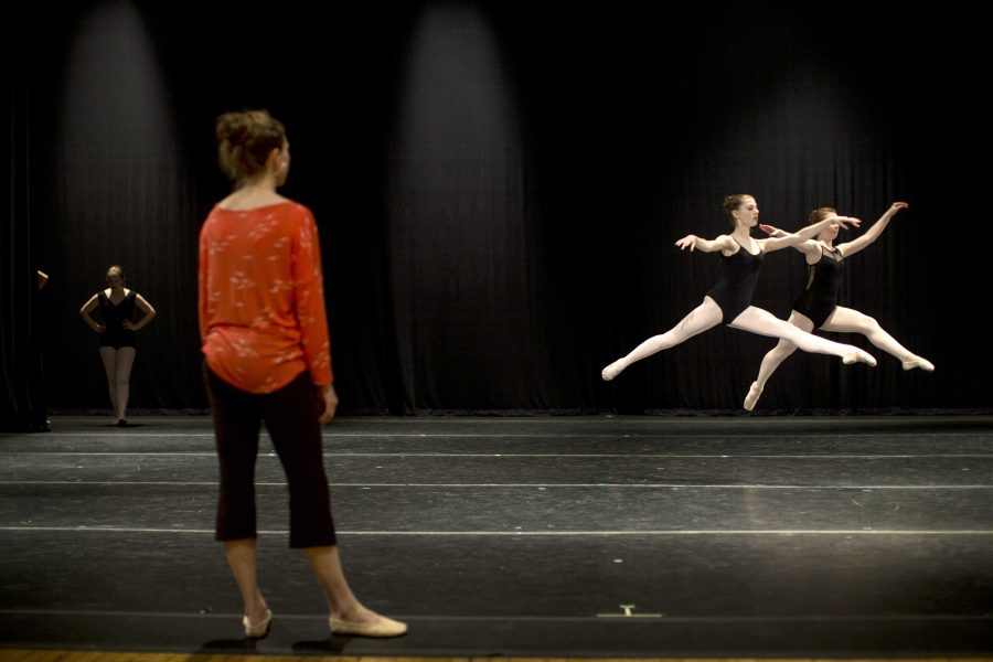 Performers rehearse at Space Place Theater located in North Hall on Tuesday, May 9, 2016. University of Iowa Youth Ballet and School of Dance is performing this weekend. (The Daily Iowan/Peter Kim)