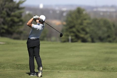 Iowa junior Carson Schaake drives the ball of the tee at Finkbine Golf Course on Saturday April 16, 2016. Iowa tied for second in the Hawkeye Invitational. (The Daily Iowan/ Alex Kroeze)