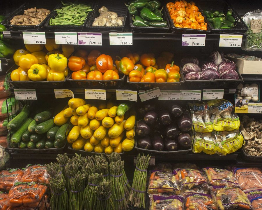 Organic vegetables are displayed in New Pioneer Co-op on July 26, 2016.
