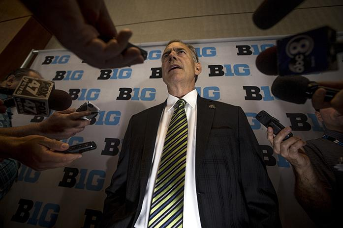 Michigan State head coach Mark Dantonio answers questions after his time on the main podium during day two of Big Ten media days on Tuesday, July 26, 2016. Currently going into the fall 2016 season, Michigan state sits at 33-5 over the last three years. (The Daily Iowan/Jordan Gale)