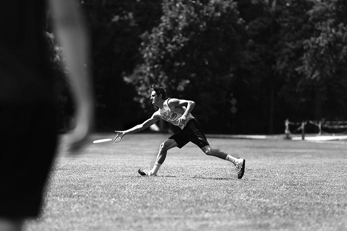 Iowa+students+Brent+Swanson+and+Charlie+Goodwin+practice+throwing+for+their+Ultimate+Frisbee+class+on+Monday%2C+August+29+in+Hubbard+Park.+This+H+pass+class+is+taught+by+Megan+Johnson+at+1%3A30pm.+%28The+Daily+Iowan%2F+Alex+Kroeze%29