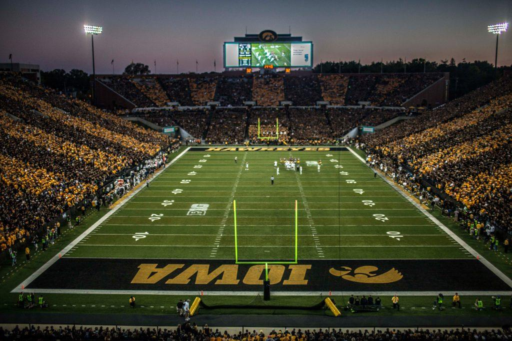 The Hawkeyes and Pitt Panthers watch the coin toss in Kinnick on Sept. 19, 2015. The Hawkeyes defeated the Panthers, 27-24. (The Daily Iowan/File Photo)