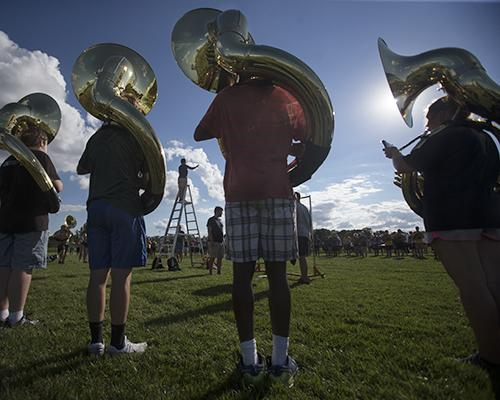 The University of Iowa Marching Band practices outside of the Tennis Complex on Thursday, Sep. 01, 2016. The marching band will perform for the first time this season on Saturday, Sep. 3. (The Daily Iowan/Brooklynn Kascel)