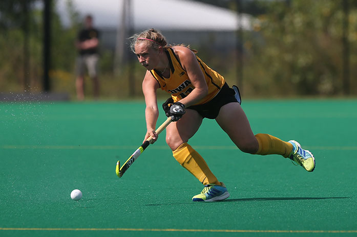 Iowa midfielder Katie Birch advances towards the circle during a field hockey game against Fairfield at Grant Field on Friday, September 2, 2016. The Hawkeyes defeated the Stags 4-1. (The Daily Iowan/Joseph Cress)