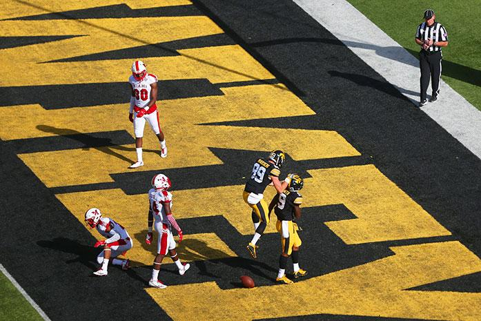 Iowa wide receiver Jerminic Smith catches a pass and scores a touchdown in the second quarter of the Iowa-Miami (Ohio) game at Kinnick on Sept. 3. The Hawkeyes defeated the Redhawks, 45-21. (The Daily Iowan/Margaret Kispert)