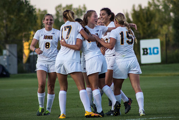 Iowa Celebrates after a goal during the Iowa v. Colorado State match at the Iowa Soccer Complex on Friday, Sept. 2, 2016. The Hawkeyes defeated the Rams 4-1 . (The Daily Iowan/Anthony Vazquez)