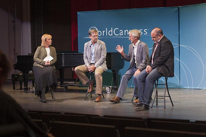 WorldCanvass host Joan Kjaer, UI Departments of History and Geography associate professor Ty Priest, State Geologist of Iowa Bob Libra, and UI School of Music professor Alan Huckleberry discuss fracking during a WorldCanvass event inside the Voxman Music Building on Tuesday, Sep. 13, 2016. The event was broken up into three segments with professors, activists and musicians speaking about fracking in Iowa and across the country. (The Daily Iowan/Joseph Cress)