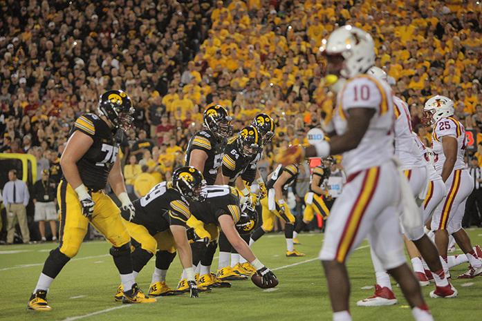 Iowa center Lucas LeGrand prepares to snap the ball during the Iowa-Iowa State game at Kinnick on Sept. 10. LeGrand filled the center position for the game because James Daniels was injured. (The Daily Iowan/Margaret Kispert)