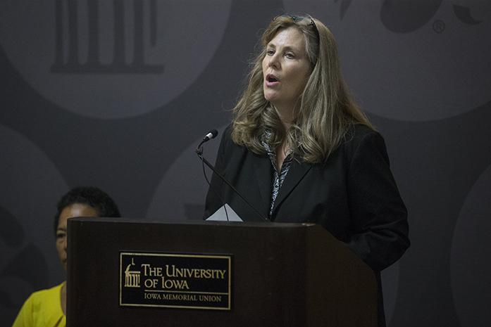 FILE - In this file photo, UI Sexual Misconduct Response Coordinator and Deputy Title IX Coordinator Monique DiCarlo speaks during a press conference regarding the Speak Out Iowa Survey key findings report about sexual violence on Wednesday, September 21, 2016. UI President Bruce Harreld named DiCarlo the UI's Title IX coordinator. She will fill the role after the departure of current chief diversity officer and Title IX coordinator Georgina Dodge, who is headed to Bucknell University. (The Daily Iowan/Joseph Cress)