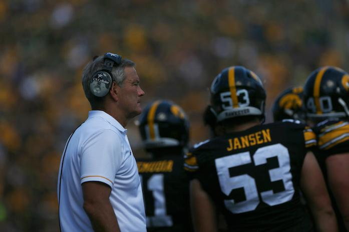 Iowa head coach Kirk Ferentz watches his team during a timeout of the Iowa-NDSU game at Kinnick on Saturday, Sept. 17, 2016. NDSU defeated Iowa in the final seconds of the game with a 37-yard field goal, 23-21. (The Daily Iowan/Margaret Kispert)
