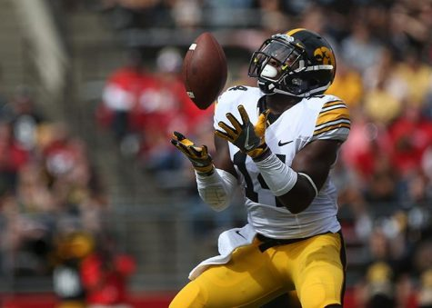 Iowa defensive back Desmond King catches a punt return during the Iowa-Rutgers game at High Point Solution Stadium at Piscataway on Saturday, Sept. 24, 2016. The Hawkeyes defeated the Knights, 14-7. (The Daily Iowan/Margaret Kispert)