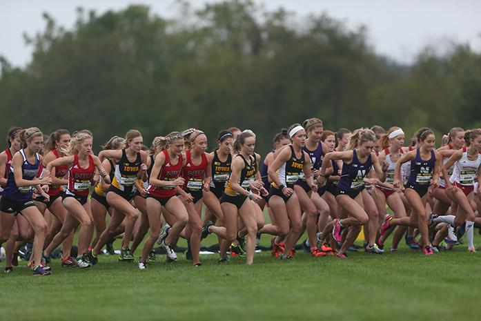 The+runners+take+off+from+the+starting+line+at+Ashton+Cross+Country+Course+on+October+1%2C+2016.+Tess+Wilberding+placed+2nd+for+the+Hawkeyes+in+the+Women%27s+6k.+%28The+Daily+Iowan%2FKarley+Finkel%29