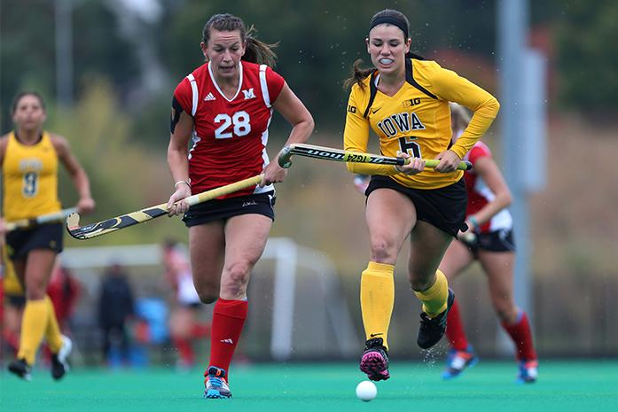 Iowa+forward+Mallory+Lefkowitz+and+Miami+back+Ali+Froede+go+after+the+ball+at+Grant+Field+on+Sunday%2C+Oct.+12%2C+2014.+Iowa+defeated+Miami%2C+3-1.+%28File+photo%29