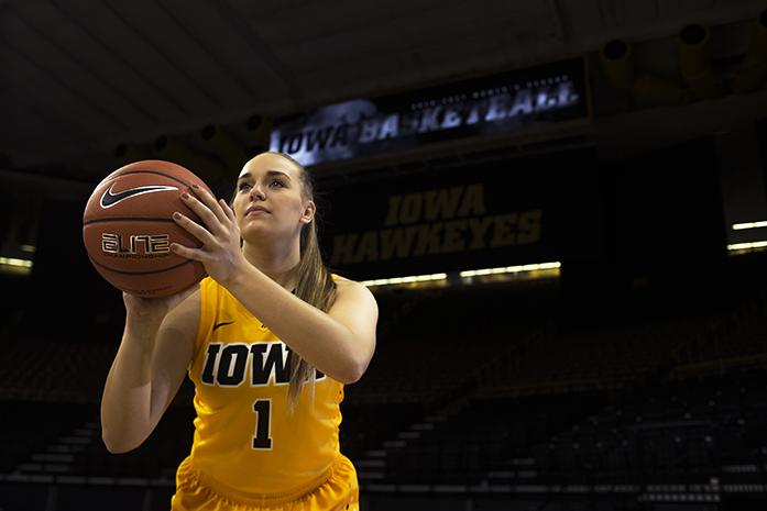 Iowa guard Alexa Kastanek is seen during womens basketball media day in Carver-Hawkeye Arena on Wednesday, October 26, 2016. The Hawkeyes will play Oral Roberts on Nov. 11 at 6 p.m. at Carver-Hawkeye. (The Daily Iowan/Joseph Cress)