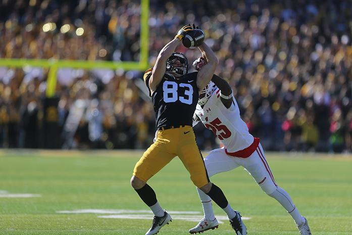 Iowa receiver Riley McCarron catches a pass during the Iowa v. Wisconsin game at Kinnick Stadium on Saturday, October 22, 2016. The Badgers pulled away in the second half defeating the Hawkeyes 17-9. (The Daily Iowan/ Alex Kroeze)