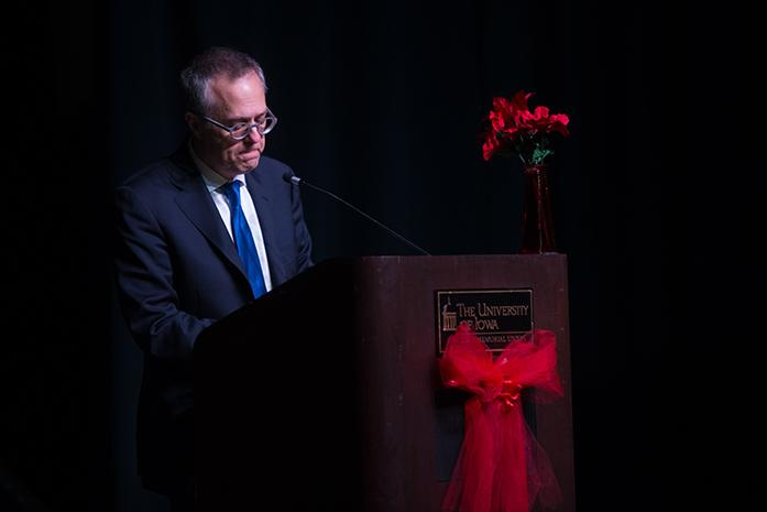 Michael Gerson talks about AIDS in sub-saharan Africa as part of IC Red at the IMU on Nov 30, 2016. (The Daily Iowan/Osama Khalid)